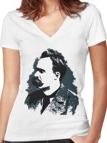 Friedrich Nietzsche portrait vector drawing  Women's Fitted V-Neck T-Shirt