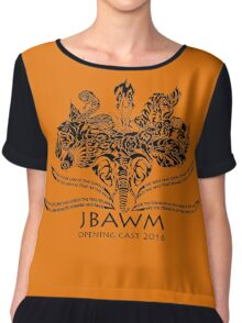 JBAWM Solid Black Red Flower Chiffon Top
