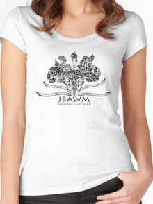 JBAWM Solid Black Red Flower Women's Fitted Scoop T-Shirt