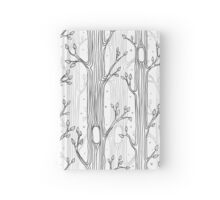 Seamless pattern with trees, grayscale Hardcover Journal