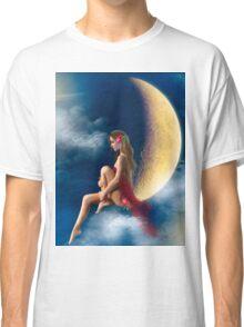 beautiful woman night fairy on moon Classic T-Shirt