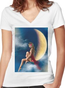 beautiful woman night fairy on moon Women's Fitted V-Neck T-Shirt