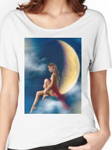 beautiful woman night fairy on moon Women's Relaxed Fit T-Shirt