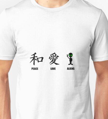 Kanji Peace Love Aliens Unisex T-Shirt