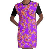Flowers Random Fill Pattern Purple Graphic T-Shirt Dress