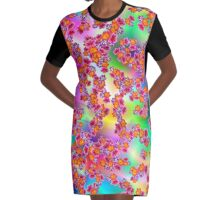 Flowers Random Fill Pattern TyDy Graphic T-Shirt Dress