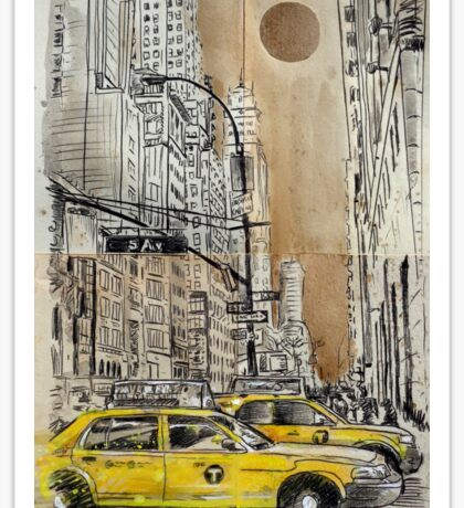 5th avenue study drawing Sticker
