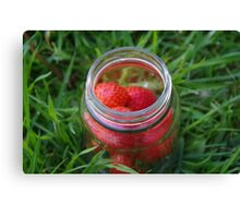Glass Jar with Strawberries Canvas Print