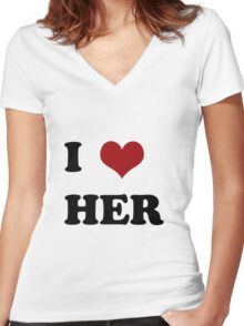 I love her Women's Fitted V-Neck T-Shirt