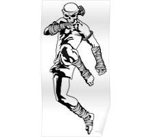 muay thai skull thailand martial art sport power kick impact decal Poster