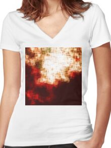 red, rose darkness in midwinter pixel abstration Women's Fitted V-Neck T-Shirt