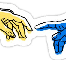 Creation of Adam in blue and yellow Sticker