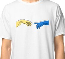 Creation of Adam in blue and yellow Classic T-Shirt
