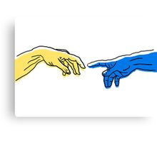 Creation of Adam in blue and yellow Canvas Print