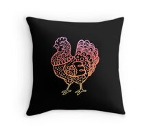 Ornate Chicken Line Drawing Throw Pillow