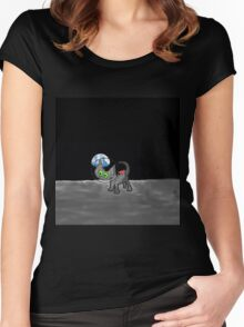 Space Cat Travels to the Moon Women's Fitted Scoop T-Shirt