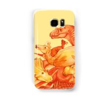 cretaceous congregation - orange & yellow dinosaurs Samsung Galaxy Case/Skin