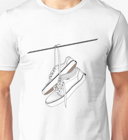 White Vans Hanging From Power Lines Unisex T-Shirt