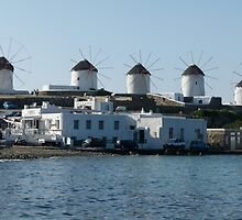 Mykonos Windmills by Trish Meyer