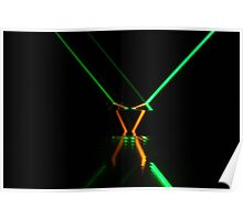 Green laser in dark glass Poster