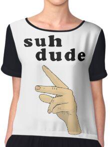Suh Dude meme | Black Letters Chiffon Top