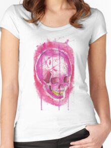 PINK WATER COLOR SKULL Women's Fitted Scoop T-Shirt