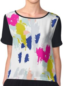 Gouache paint brush stroke pattern. Chiffon Top