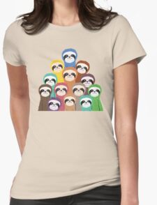 Sloth Pattern Womens Fitted T-Shirt