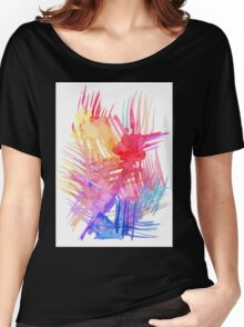 Watercolor abstract palm leaves Women's Relaxed Fit T-Shirt