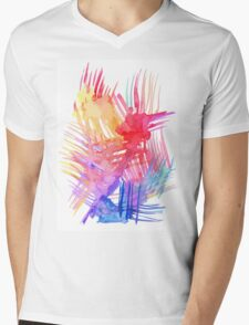 Watercolor abstract palm leaves Mens V-Neck T-Shirt