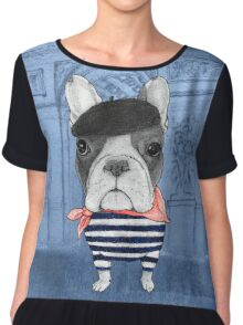 Frenchie With Arc de Triomphe Chiffon Top