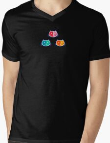 Chromatic Cats Pattern Mens V-Neck T-Shirt