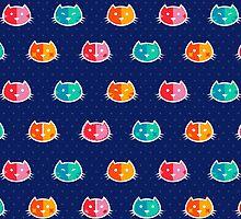 Chromatic Cats Pattern by Corinna Djaferis