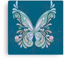 Pastel Color Butterfly with colorful swirls Canvas Print