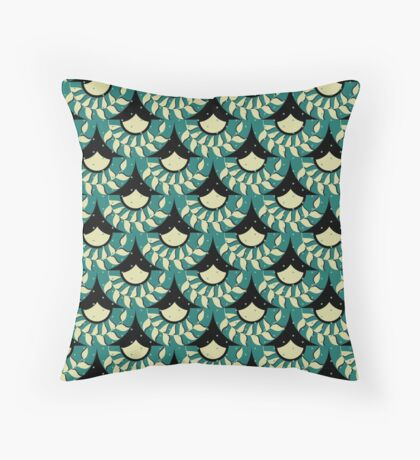 Geometric Heliconia Fan Pattern Throw Pillow