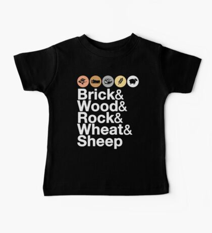 Helvetica Settlers of Catan: Brick, Wood, Rock, Wheat, Sheep | Board Game Geek Ampersand Design Baby Tee