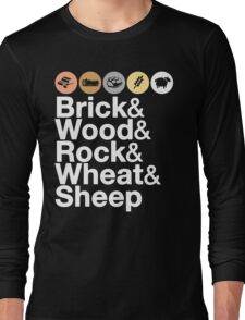 Helvetica Settlers of Catan: Brick, Wood, Rock, Wheat, Sheep   Board Game Geek Ampersand Design Long Sleeve T-Shirt