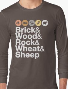 Helvetica Settlers of Catan: Brick, Wood, Rock, Wheat, Sheep | Board Game Geek Ampersand Design Long Sleeve T-Shirt