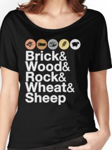 Helvetica Settlers of Catan: Brick, Wood, Rock, Wheat, Sheep | Board Game Geek Ampersand Design Women's Relaxed Fit T-Shirt