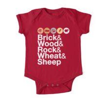 Helvetica Settlers of Catan: Brick, Wood, Rock, Wheat, Sheep   Board Game Geek Ampersand Design One Piece - Short Sleeve