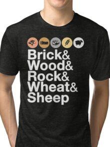 Helvetica Settlers of Catan: Brick, Wood, Rock, Wheat, Sheep | Board Game Geek Ampersand Design Tri-blend T-Shirt