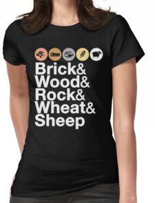 Helvetica Settlers of Catan: Brick, Wood, Rock, Wheat, Sheep | Board Game Geek Ampersand Design Womens Fitted T-Shirt