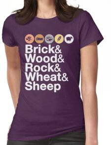 Helvetica Settlers of Catan: Brick, Wood, Rock, Wheat, Sheep | Board Game Geek Ampersand Design Womens Fitted T-Shirt