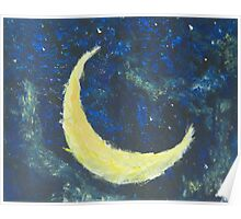 Starry Night Crescent Moon Poster