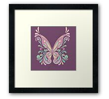 Colorful Ornately Designed Butterfly Graphic with flourishes Framed Print