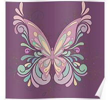 Colorful Ornately Designed Butterfly Graphic with flourishes Poster