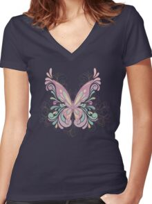 Colorful Ornately Designed Butterfly Graphic with flourishes Women's Fitted V-Neck T-Shirt