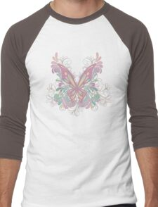 Colorful Ornately Designed Butterfly Graphic with flourishes Men's Baseball ¾ T-Shirt