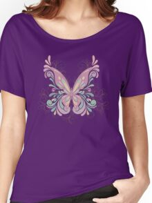 Colorful Ornately Designed Butterfly Graphic with flourishes Women's Relaxed Fit T-Shirt