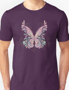 Colorful Ornately Designed Butterfly Graphic with flourishes Unisex T-Shirt